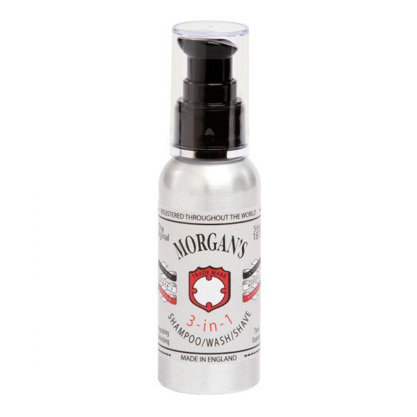 Morgans 3v1 šampón na telo, vlasy a pena na holenie je neuveriteľne praktický produkt pre mužov od tradičnej anglickej značky Morgan's 3v1- sprchuj sa, umývaj si vlasy a ohoľ sa dohladka len s jedným produktom.